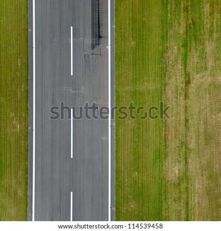 Runway approach at a small rural airport - stock photo
