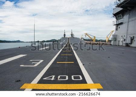 Runway at takeoff on battleship - stock photo