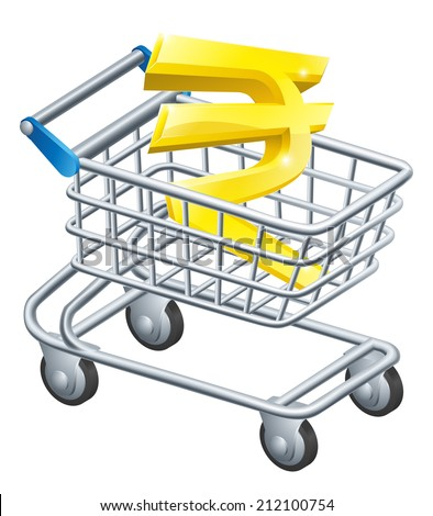 Rupee currency trolley concept of Rupee sign in a supermarket shopping cart or trolley - stock photo