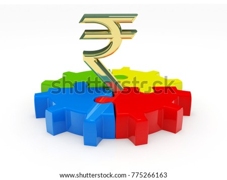 Rupee puzzle solution, Rupee with puzzle part isolated on white background. 3d illustration