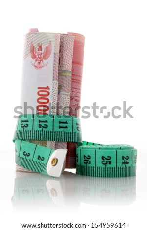 rupiah with measure tape