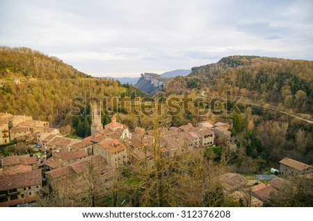 rupit i pruit is a little town in barcelona catalonia spain - stock photo