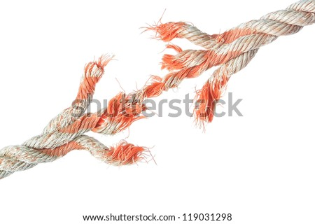 Rupture the rope on a white background. - stock photo