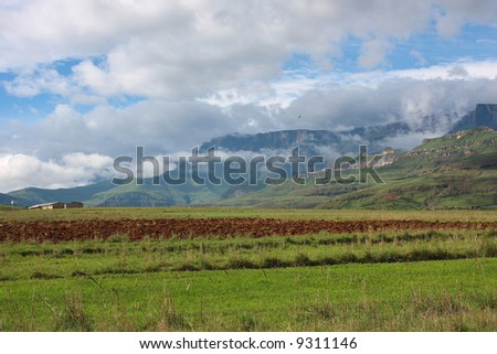 Rural Africa scene with drakensberg mountains in background
