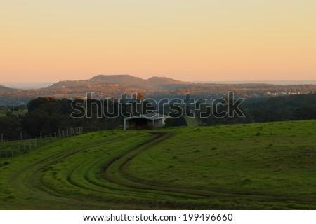 rural australia farmland bush scene toowoomba darling downs - stock photo