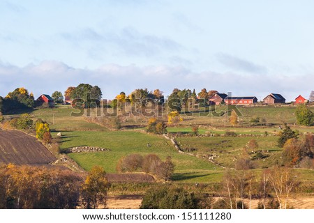 Rural autumn landscape in the countryside - stock photo