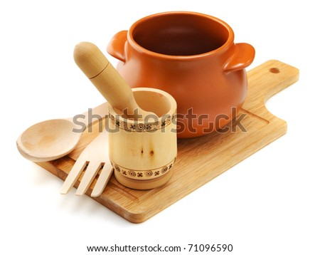 rural cookware composition on the white background - stock photo