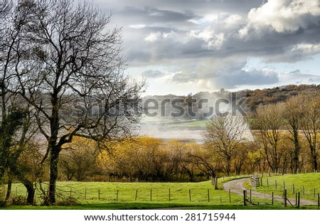 Rural countryside near Leighton Moss. - stock photo