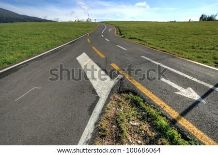 Rural crossroads - stock photo