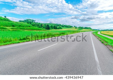 "Rural field runs along the federal highway in Germany ""B3"""