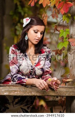 Rural girl. - stock photo