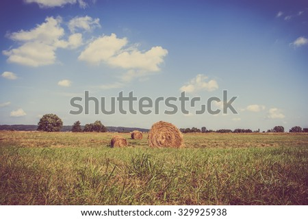 Rural harvest landscape. Hay bales on farmland in summer photographed in Poland, vintage photo. - stock photo