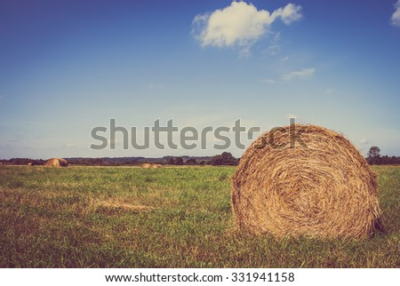 Rural harvest landscape with hay bales on farmland, vintage photo. - stock photo