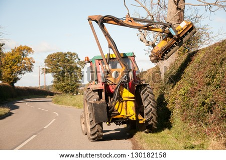 Rural hedges being maintained - stock photo
