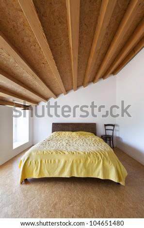 rural home interior, nice bedroom - stock photo