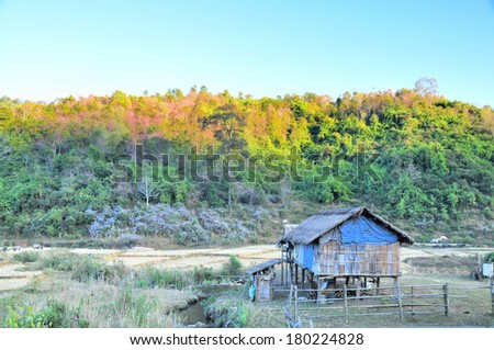 Rural homes ( Old wooden house with on hillside ) - stock photo