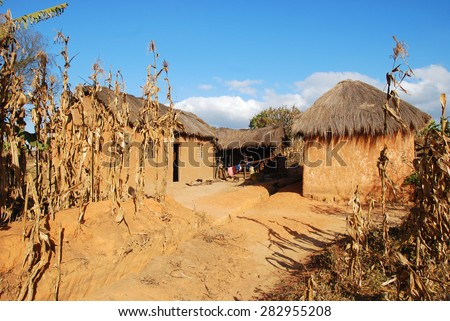 Rural house in Pomerini in Tanzania - Africa - Typical house peasant of the rural area of Pomerini in Tanzania - stock photo