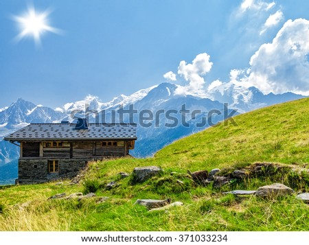 Rural house in the mountains with views of Mont Blanc. France - stock photo