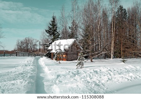 rural house near snow lane - stock photo