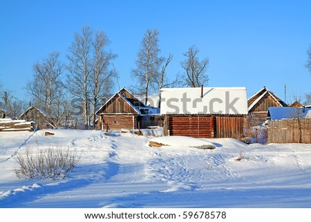 rural house on coast river - stock photo