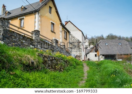 Rural houses in small Galey village, France
