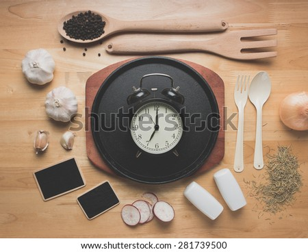 Rural kitchen utensils on wooden table from above,breakfast concept,vintage style