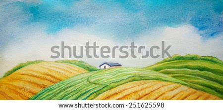 Rural landscape, cultivated field and blue sky. watercolor picture - stock photo