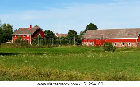 Rural landscape. Farmhouse - stock photo