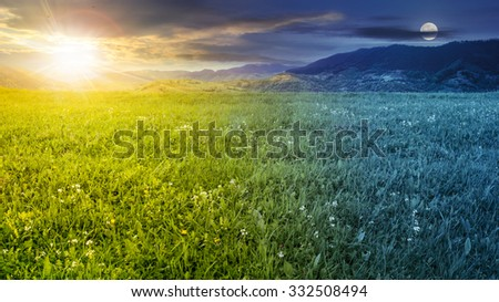 rural landscape. fresh grass on the flat meadow near the high mountains day and night collage - stock photo