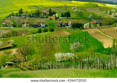 Rural landscape in countryside in South Moravia, Csezh Republic - stock photo