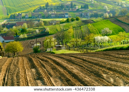 Rural landscape in countryside in South Moravia, Csezh Republic