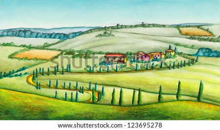 Rural landscape in Italy. Original watercolor illustration. - stock photo
