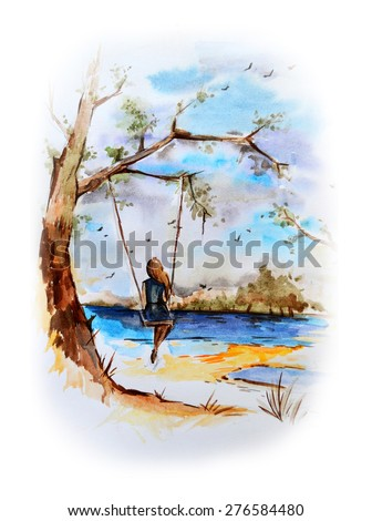 Rural landscape in marine style. Hand-draw watercolor painting