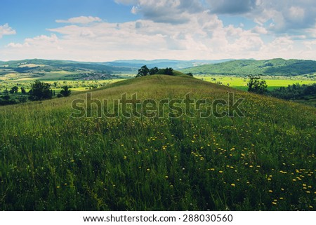 Rural landscape in Romania - stock photo