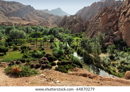 Rural landscape in the Atlas mountains, Morocco. - stock photo
