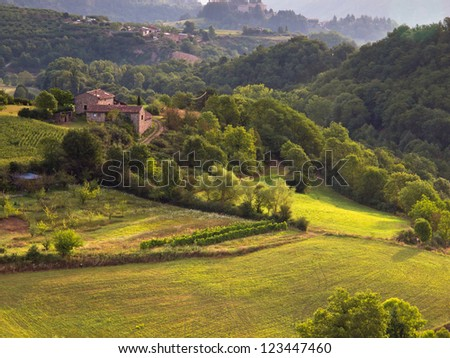 Rural Landscape in the early Morning in the Ardeche, France - stock photo