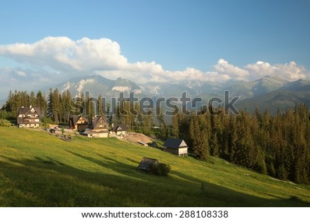Rural landscape in the Tatra Mountains at dusk. - stock photo