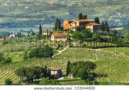 Rural landscape in Tuscany, near San Gimignano medieval village. Italy. - stock photo