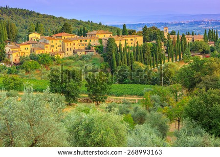 Rural landscape in Tuscany,with stunning sunset,near Siena medieval town. Italy,Europe