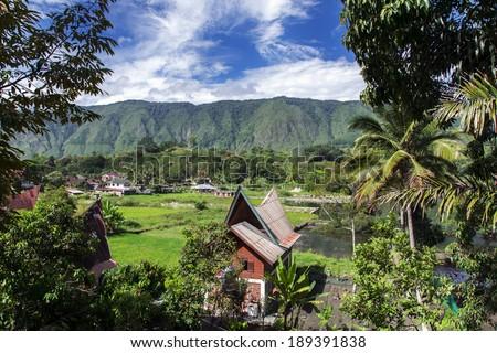 Rural Landscape. Lake Toba, North Sumatra, Indonesia. - stock photo