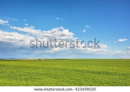 Rural landscape - meadows with blue sky and clouds over them - stock photo