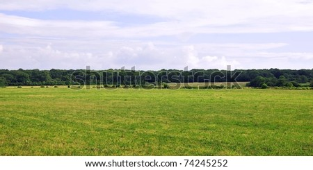 Rural Landscape of a Green Field below an Overcast Sky - stock photo