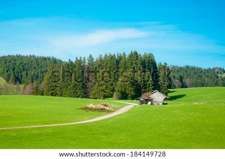 Rural Landscape of a Green Field in Bavaria Germany - stock photo