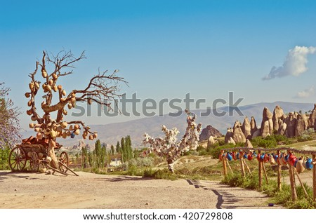 rural landscape ,old cart with ceramic jugs in Cappadocia, Turkey - stock photo