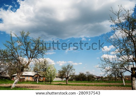 Rural landscape. Old garden and blue sky with clouds