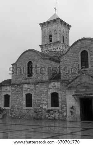 rural landscape on the island of Cyprus. views of the historic center of Cyprus. black and white photo - stock photo