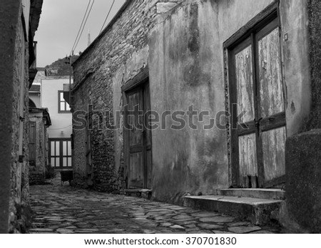 rural landscape on the island of Cyprus. views of the historic center of Cyprus. black and white photo