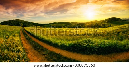 Rural landscape panorama with a meadow at sunset, hills on the horizon and a curved path leading to the orange sky - stock photo
