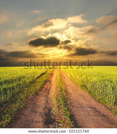 rural landscape with a road - stock photo