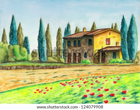 Rural landscape with a typical italian house. Original watercolor. - stock photo